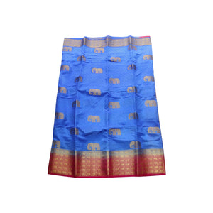 arars Women's kanchipuram kanjivaram pattu style art silk saree with blouse (376,royal blue)