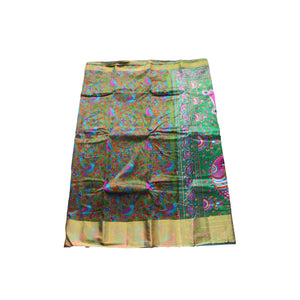 arars Women's kanchipuram kanjivaram pattu style art silk saree with blouse (377,olive)