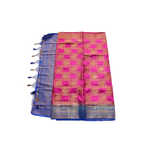 arars Women's kanchipuram kanjivaram pattu style art silk saree with blouse (378,rani)