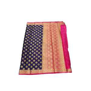 arars Women's kanchipuram kanjivaram pattu style mysore crepe silk saree with blouse (381,navy blue)