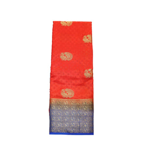 arars Women's kanchipuram kanjivaram pattu style art silk saree with blouse (382,orange)