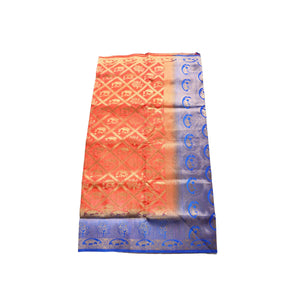 arars Women's kanchipuram kanjivaram pattu style art silk saree with blouse (386,peach)