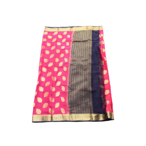 arars Women's kanchipuram kanjivaram pattu style mysore chiffon silk saree with blouse (388,strawberry)