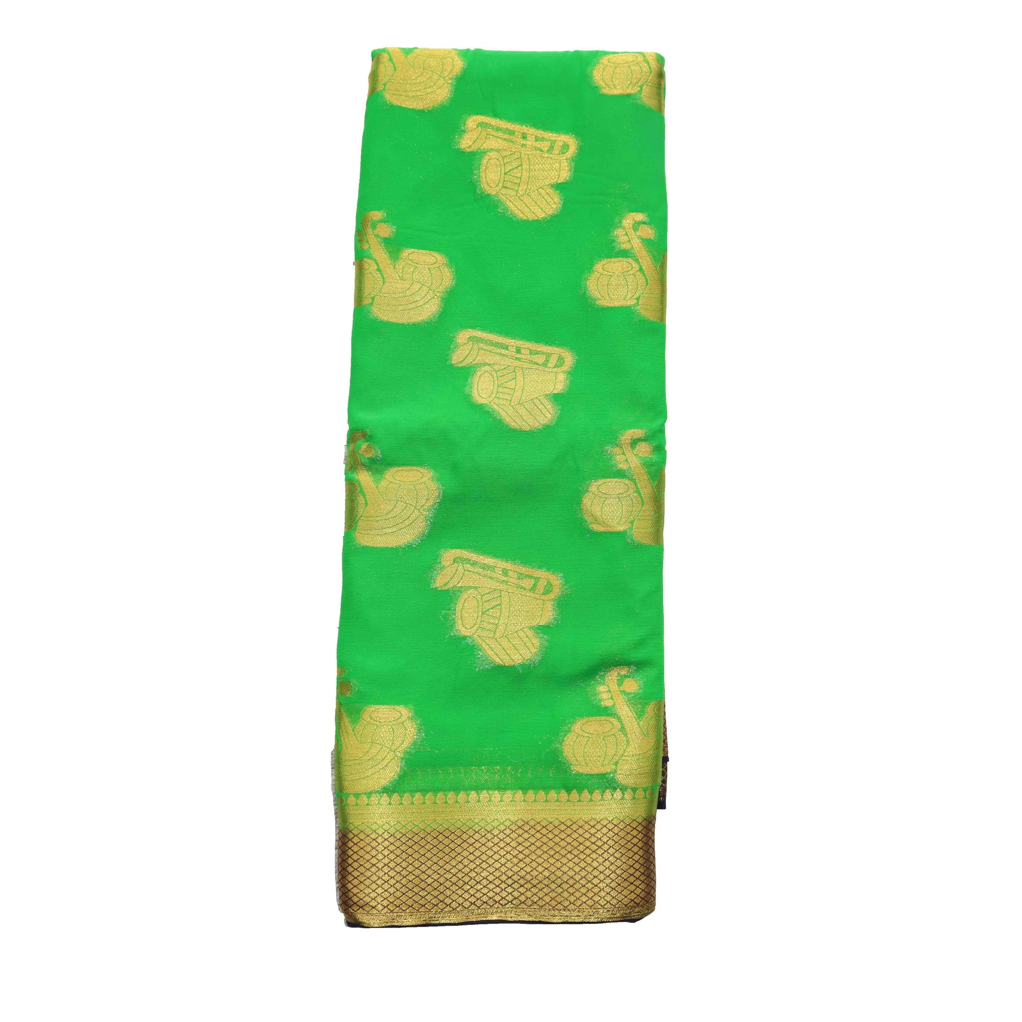 arars Women's kanchipuram kanjivaram pattu style mysore chiffon silk saree with blouse (389,green)