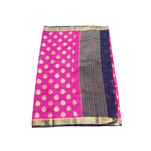 arars Women's kanchipuram kanjivaram pattu style mysore chiffon silk saree with blouse (395,rani)