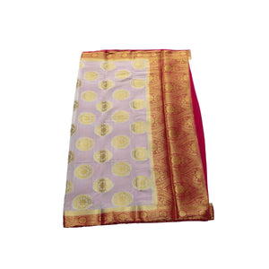 arars Women's kanchipuram kanjivaram pattu style mysore chiffon silk saree with blouse (398,white)