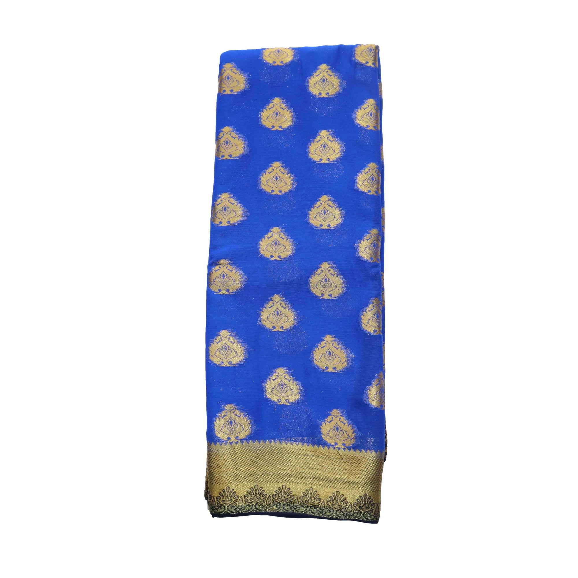 arars Women's kanchipuram kanjivaram pattu style mysore chiffon silk saree with blouse (399,royal blue)