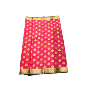 arars Women's kanchipuram kanjivaram pattu style mysore chiffon silk saree with blouse (399,strawberry)
