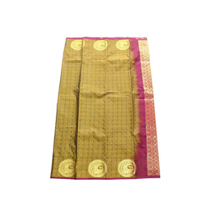 arars Women's kanchipuram kanjivaram pattu style art silk saree with blouse (400,dark mustard)