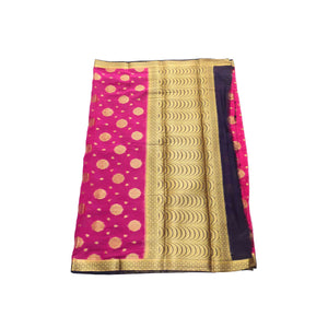 arars Women's kanchipuram kanjivaram pattu style mysore chiffon silk saree with blouse (403,rani)