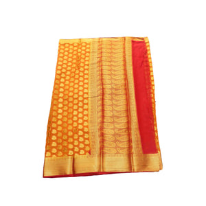 arars Women's kanchipuram kanjivaram pattu style mysore chiffon silk saree with blouse (404,mustard)