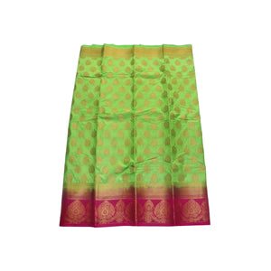 arars Women's kanchipuram kanjivaram pattu style art silk saree with blouse (406,parrot green)
