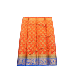 arars Women's kanchipuram kanjivaram pattu style art silk saree with blouse (407,orange)