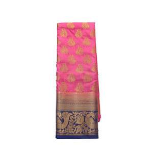 arars Women's kanchipuram kanjivaram pattu style art silk saree with blouse (407,pink)