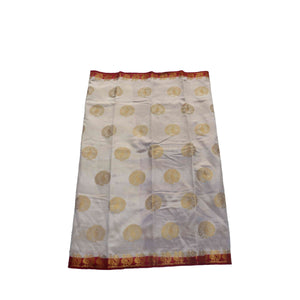 arars Women's kanchipuram kanjivaram pattu style tussar silk saree with blouse (409,off white)