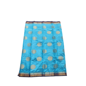 arars Women's kanchipuram kanjivaram pattu style tussar silk saree with blouse (410,blue)