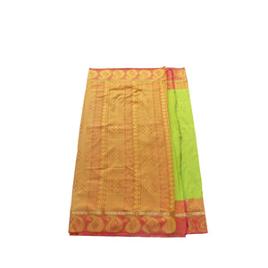 arars Women's kanchipuram kanjivaram pattu style art silk saree with blouse (411,parrot green-1)