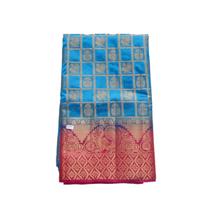 arars Women's kanchipuram kanjivaram pattu style art silk saree with blouse (417,blue)