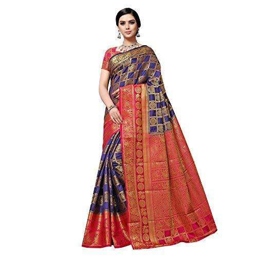 arars Women's kanchipuram kanjivaram pattu style art silk saree with blouse (372,navy blue)