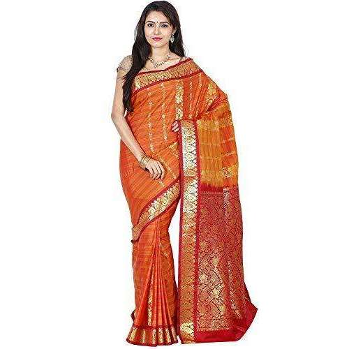 Arars Women's Banarasi Silk Saree Kanchipuram Pattu Style art Silk Saree With Blouse (AD08_mustard&maroon )