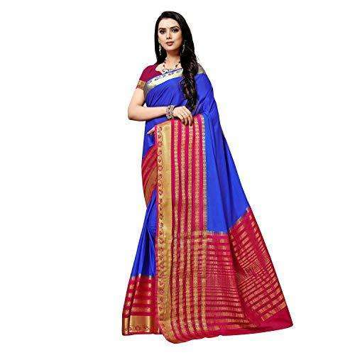 arars art crepe mysore silk saree kanjivaram kanchipuram pattu style with contrast blouse colour royal blue (333)