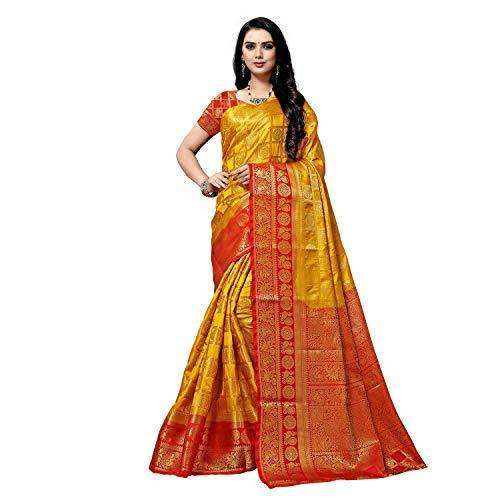 arars Women's kanchipuram kanjivaram pattu style art silk saree with blouse (372,mustard)