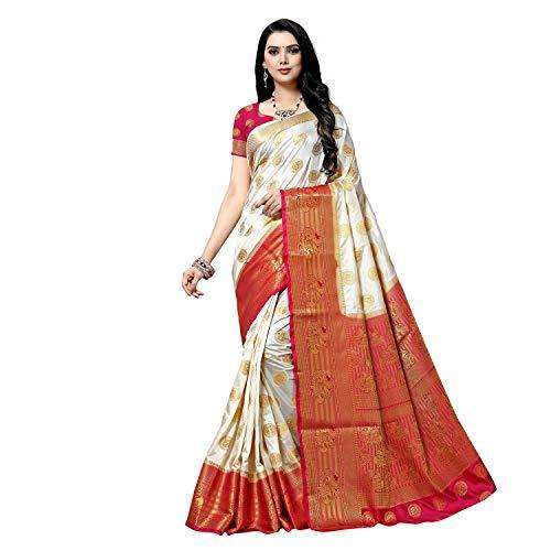 arars art silk saree kanjivaram style with designer bloue saree colour off-white (283)
