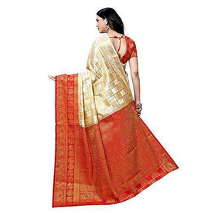 arars Women's kanchipuram kanjivaram pattu style art silk saree with blouse (372,white)