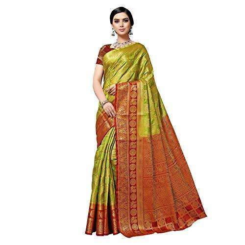 arars Women's kanchipuram kanjivaram pattu style art silk saree with blouse (372,olive)