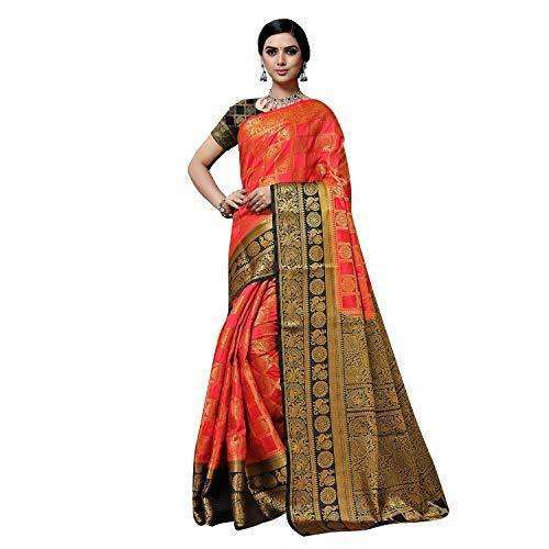 arars Women's kanchipuram kanjivaram pattu style art silk saree with blouse (372,strawberry)
