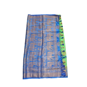 arars Women's kanchipuram kanjivaram pattu style art silk saree with blouse ( 421, parrot royal )