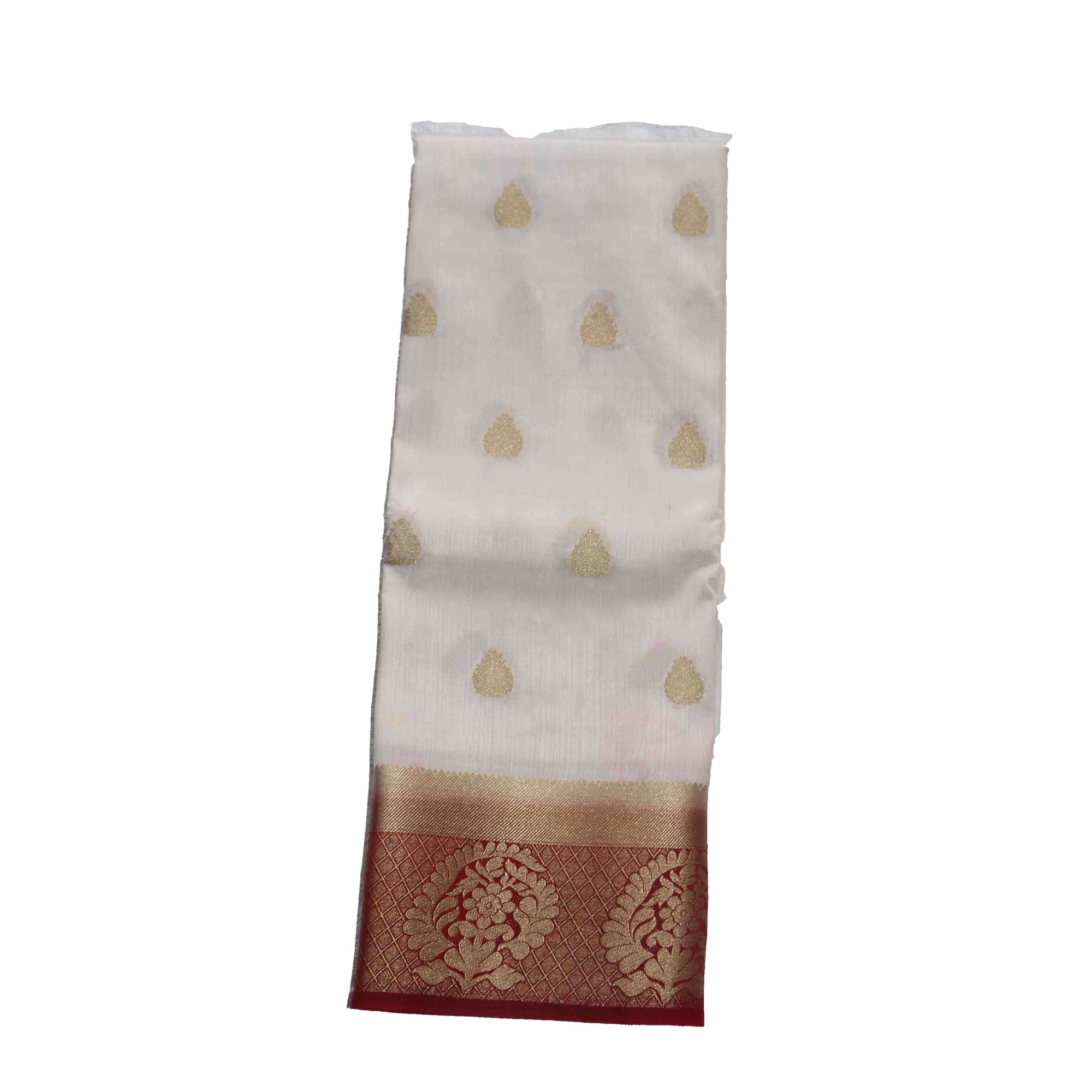 arars Women's kanchipuram kanjivaram pattu style art silk saree with blouse ( 425, white )
