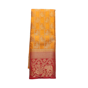 arars Women's kanchipuram kanjivaram pattu style art silk saree with blouse (440,mustard)