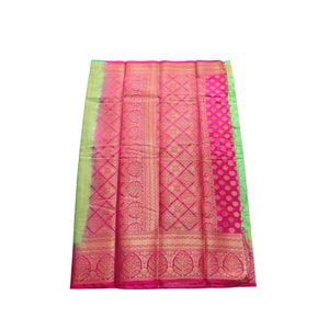 arars Women's kanchipuram kanjivaram pattu style art silk saree with blouse (441,parrot green)