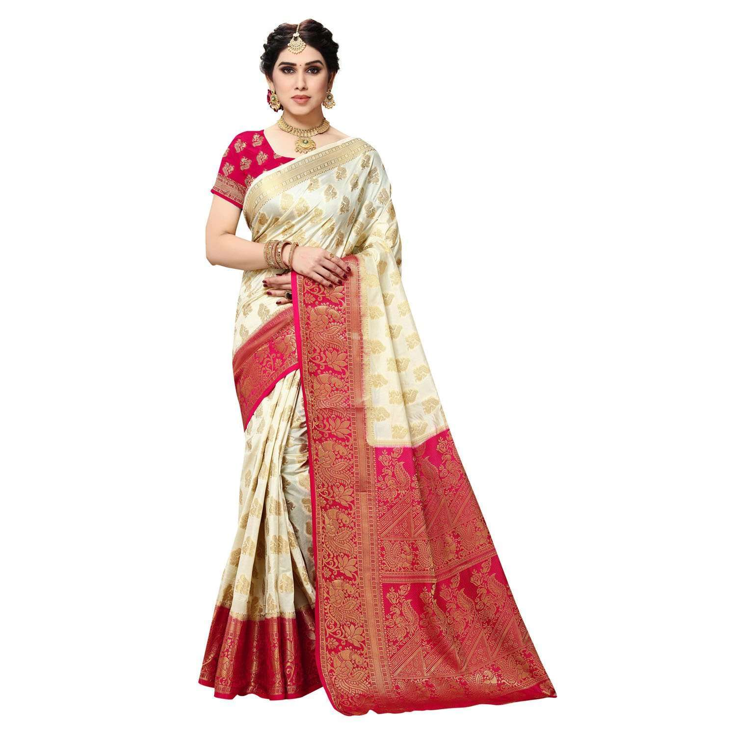 arars Women's Kanchipuram Pattu banarasi Silk Saree With Blouse (442_cream&rani )