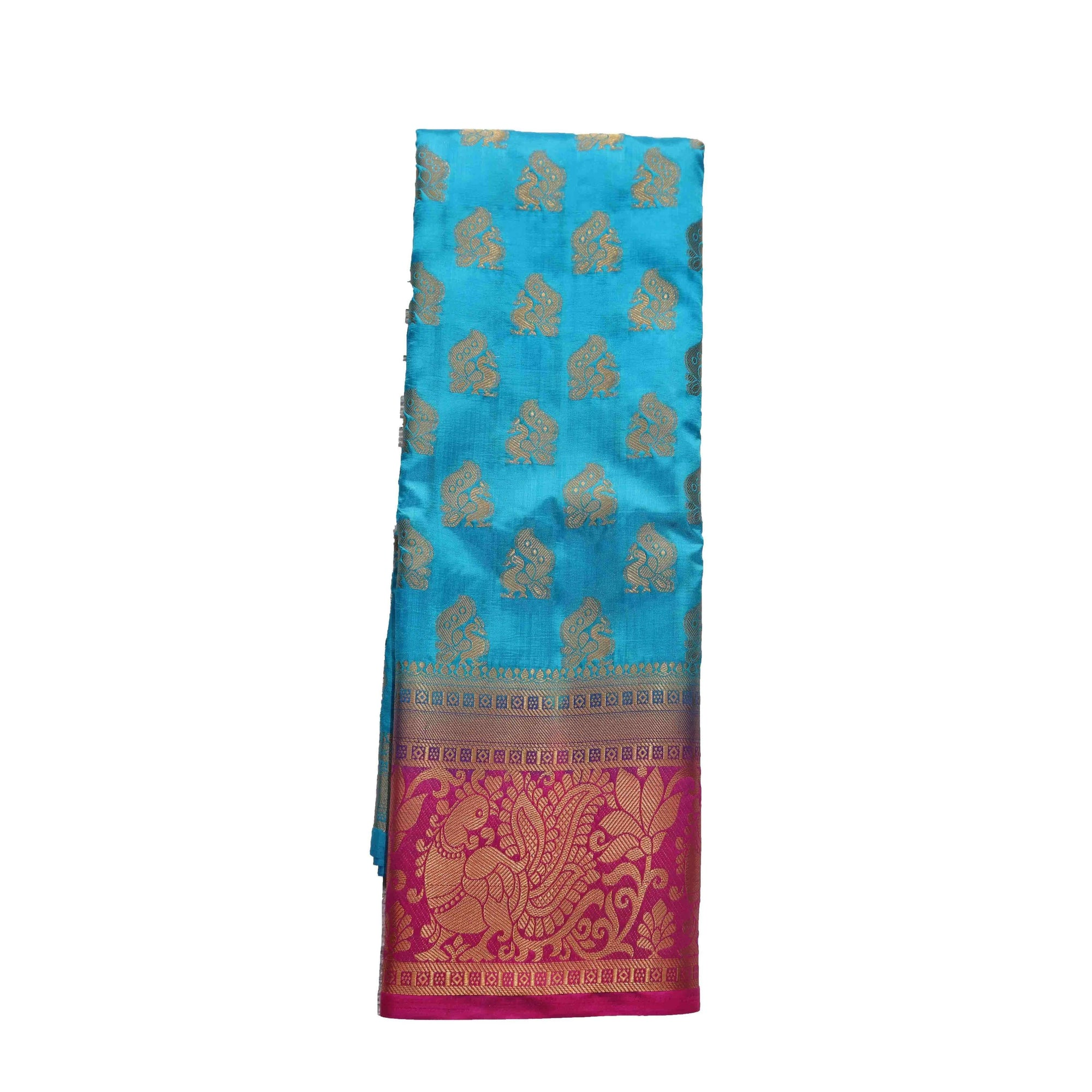 arars Women's kanchipuram kanjivaram pattu style art silk saree with blouse (442,blue)