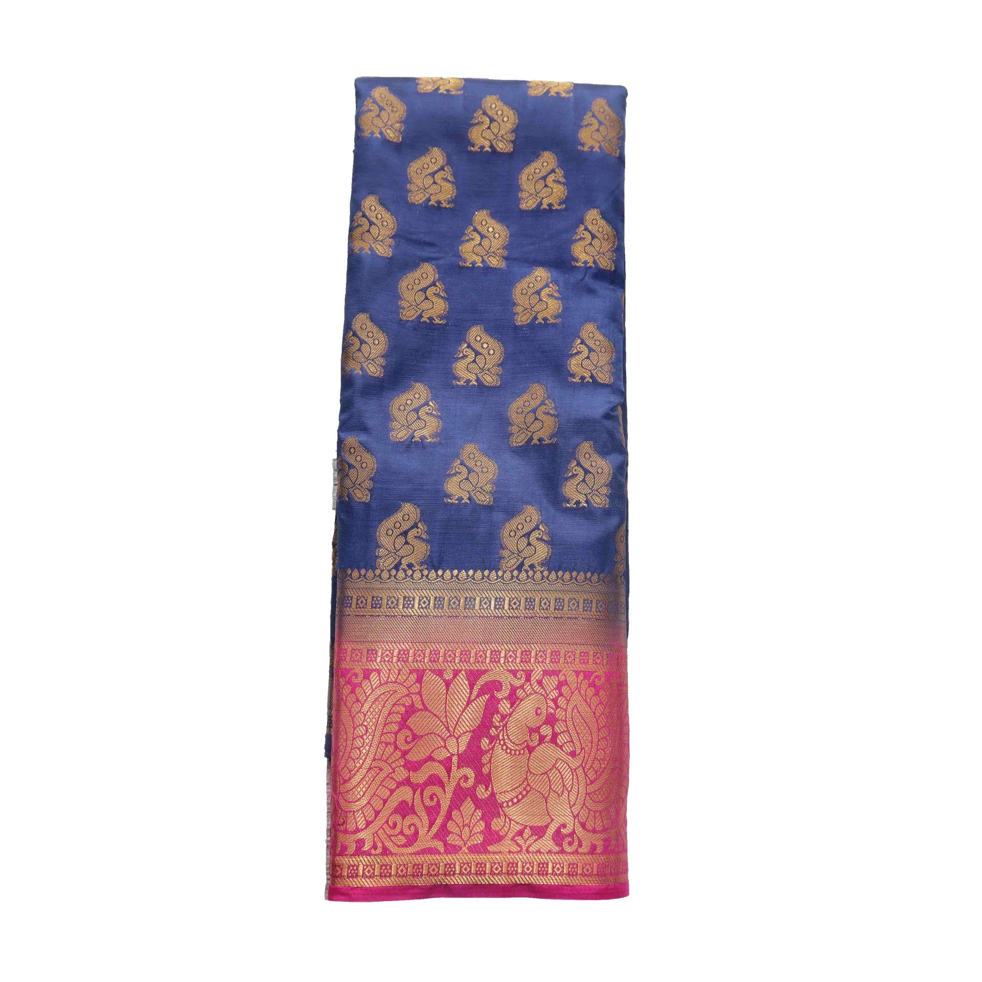 arars Women's kanchipuram kanjivaram pattu style art silk saree with blouse (442,navy blue)