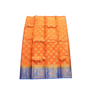 arars Women's kanchipuram kanjivaram pattu style art silk saree with blouse (442,orange)