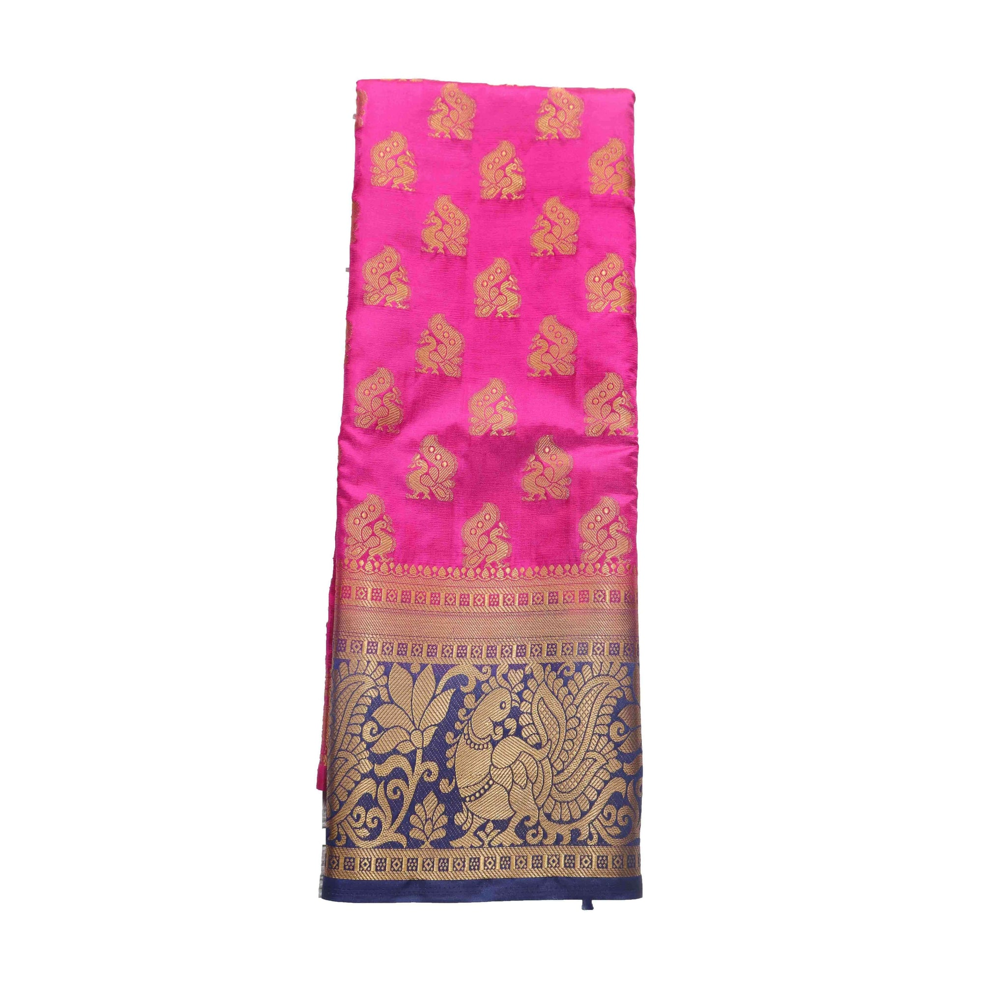 arars Women's kanchipuram kanjivaram pattu style art silk saree with blouse (442,rani)