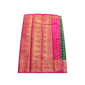 arars Women's kanchipuram kanjivaram pattu style art silk saree with blouse (444,green)