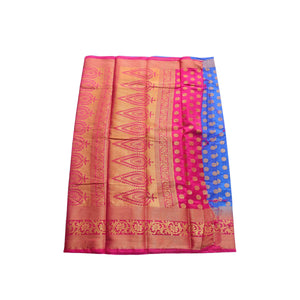 arars Women's kanchipuram kanjivaram pattu style art silk saree with blouse (444,royal blue)