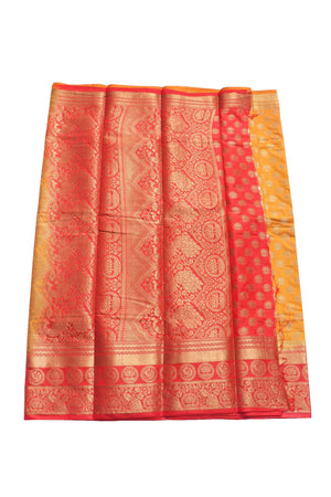 arars Women's Kanchipuram Pattu Banarasi Silk Saree With Blouse (445_mustard_red )