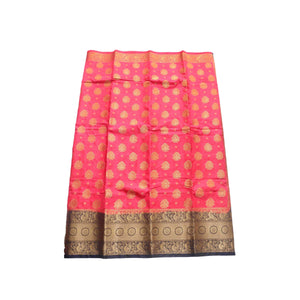 arars Women's kanchipuram kanjivaram pattu style art silk saree with blouse (446,strawberry)
