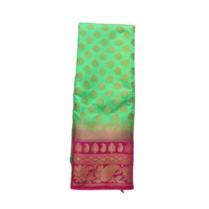 arars Women's kanchipuram kanjivaram pattu style art silk saree with blouse (447,parrot green)