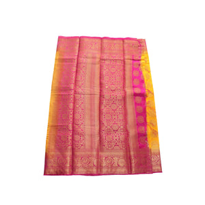 arars Women's kanchipuram kanjivaram pattu style art silk saree with blouse (448,gold)