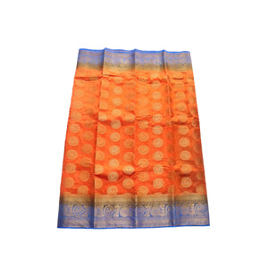 arars Women's kanchipuram kanjivaram pattu style art silk saree with blouse (448,orange)