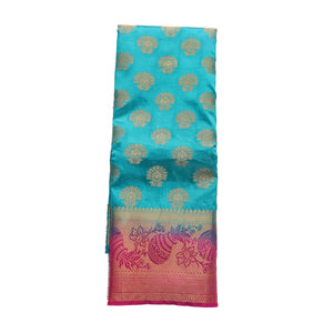 arars Women's kanchipuram kanjivaram pattu style art silk saree with blouse (449,safair)