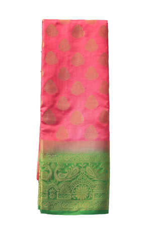 arars Women's Kanchipuram Pattu Banarasi Silk Saree With Blouse (450_strawberry_green )