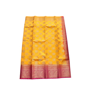 arars Women's kanchipuram kanjivaram pattu style art silk saree with blouse (451,gold)
