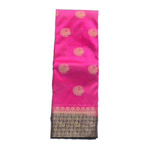 Arars Women's Kanchipuram Kanjivaram Pattu Style Raw  Silk Saree With Blouse (453 RANI NAVY )
